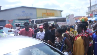 Photo of Akapela Entertainment Donates Sanitizers to the people of Sunyani in the Brong Ahafo Region