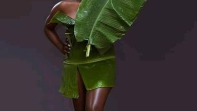 Photo of Fashion Or Madness Watch as Pretty Lady takes Pictures dressed with Plantain leaves