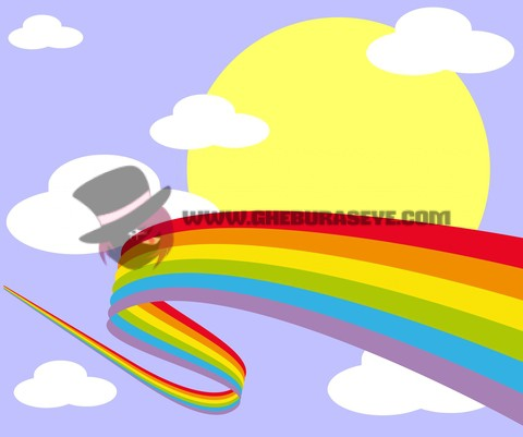 Rainbow in the sky with sun and clouds