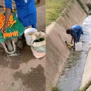 Vegetable Seller Captured Washing Vegetables Inside A Gutter (+video)