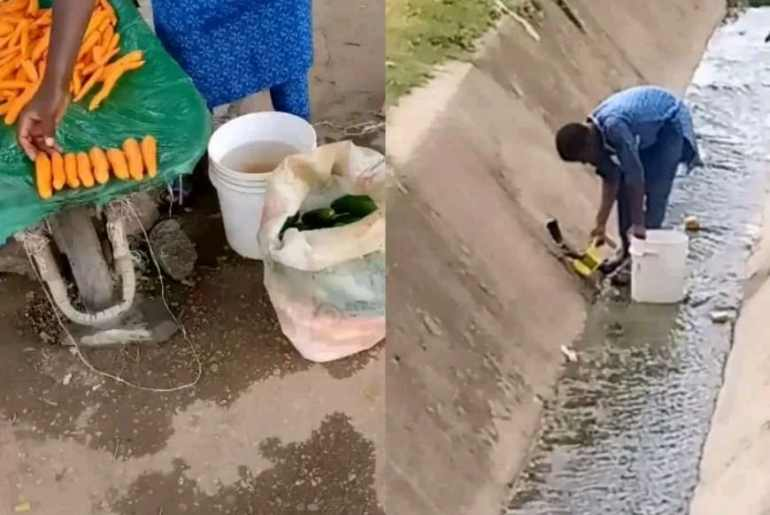 vegetable seller captured washing vegetables in a gutter