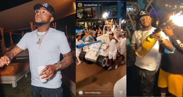 Image result for Dubai hotel delivers Davido expensive drink he purchased with an armored tank (video""