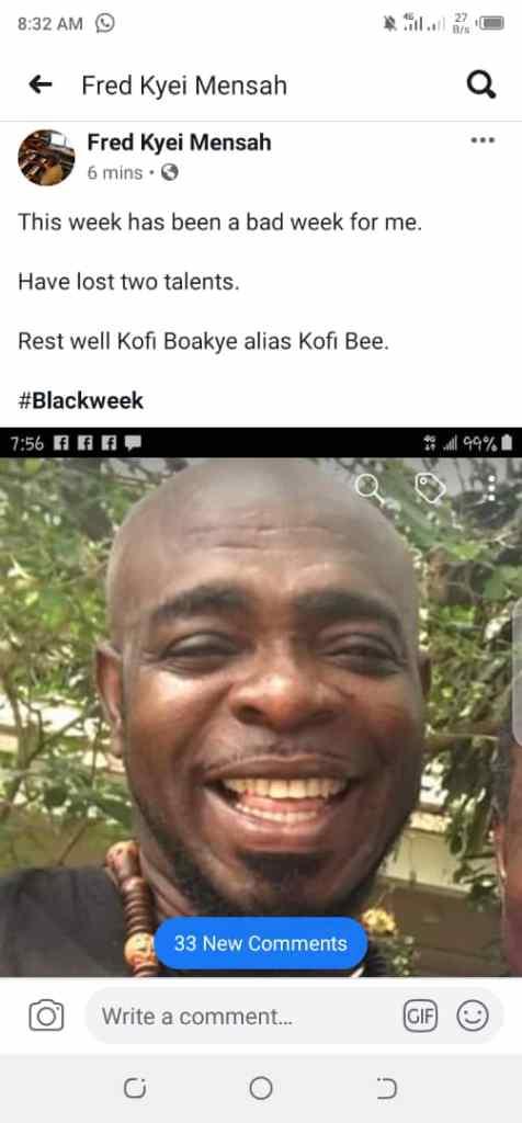 Music Producer Confirms Death Of Highlife Artiste Kofi B (Screenshot) 3