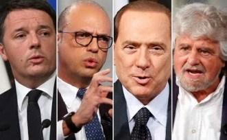 Da sinistra Matteo Renzi, Angelino Alfano, Silvio Berlusconi e Beppe Grillo