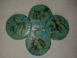 Set of Coasters incorporating inlaid plant materials from RiverBrink's Gardens