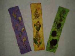 Bookmarks using inlaid flowers and leaves from RiverBrink Gardens