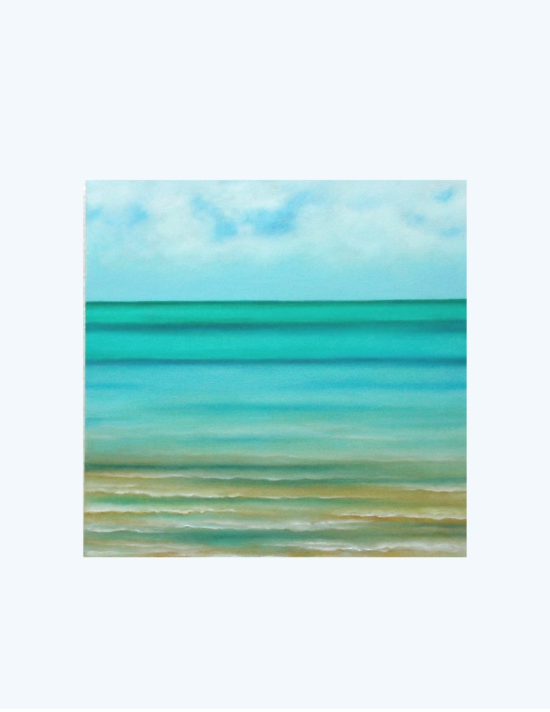 "Cuban Seascape (Centre panel of 3), 2015, Oil on canvas, 20""x 20"""