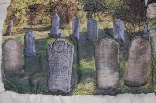 Haun Cemetary, Stevensville. Gravestones outlined
