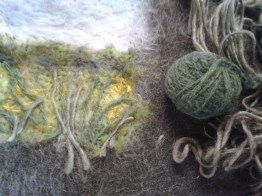 Using handspun yarn for stems and tree branches