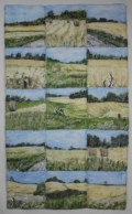 """Hay and Wheatfields Niagara. Composition of 15 12"""" x 12"""" squares each needle felted."""