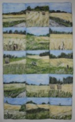 "Hay and Wheatfields Niagara. Composition of 15 12"" x 12"" squares each needle felted."