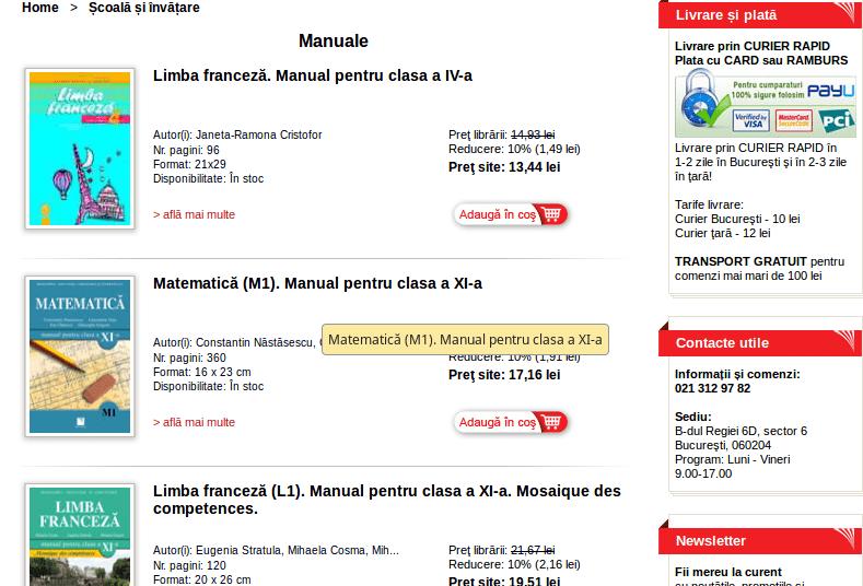 Manuale scolare de la Editura Niculescu
