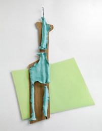 11-Sculpture frontale, 2016, Stratifié, céramique bleue et drisse, 160 x 125 x 10 cm