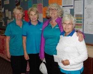 2016 BSI Womenn' Fours 2 game winners Sue Ennis, Donna Jeannotte, Karen Heagle and Judith Raymer. Lake Hill