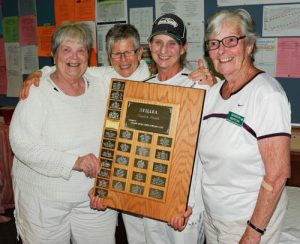 2016 BSI Women's Fours Winners Wendy Lubich, Barb McKenzie,  Sue Smith and Sharon Bertoia, JDF and Burnside