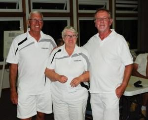 Third 3-game winners David Gardner, Janet Gardner and Dave Richards