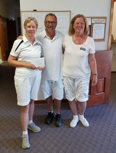 2016 Anniversary Triples 1-game winners Jill Foster, Brian Morin and Dorothy Verge