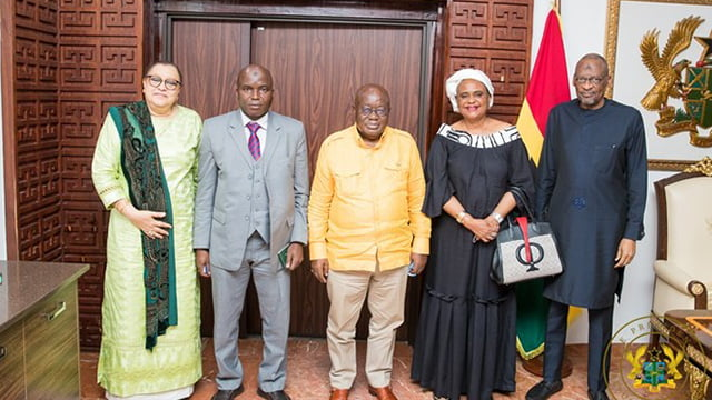 President Akufo Addo with the Guinean Delegation led by Colonel Sadiba Koulibaly
