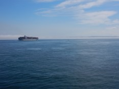 A wider view of the Bremen Bridge after it crossed our path during our ferry crossing from Port Townsend, WA to Whidbey Island. Note the fog bank behind the vessel.