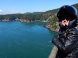 Karen on the bridge over Deception Pass on Whidbey Island.