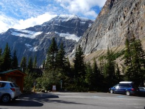 The parking lot at Mt Edith Cavell in Jasper Park.