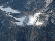 Damage from a recent rockslide on the face of Mt Edith Cavell in Jasper Park.