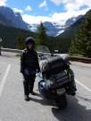Karen and the Vector in front of the Stuttfield Glacier in Jasper Park.