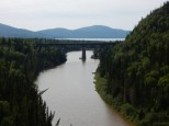 A Canadian Pacific train treslte crosses a river at the west boundary to Nays Provincial Park in Ontario.