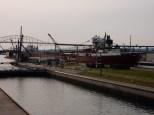 The Cason J Callaway slowly exits the Soo Locks.