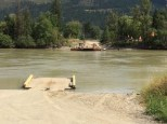 The McLure Ferry heads across the Thompson River to pick us up.