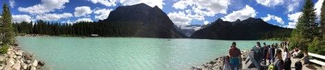 A panorama of Lake Louise in Alberta.