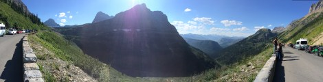 A panorama of the view we had while waiting for the construction road closing to clear.