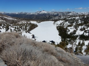 Red Lake along Carson Pass is still frozen in mid-May.
