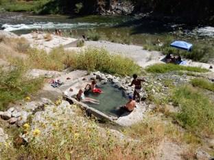 Bathing choices at the Hot Springs campground in the Boise National Forest; South fork of the Payette River for cold, the hot spring pool for hot.