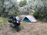 My camp site in Cody, WY, complete with babbling brook.