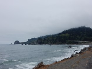 A wide view of a point at the extreme south edge of Del Norte Coast Redwoods State Park.