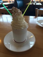 Being chilled, I ordered hot chocolate. I think the whipped cream was piled higher than the cup holding the hot chocolate.
