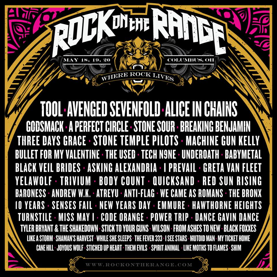 The 2018 Rock On The Range Lineup Includes Tool Avenged