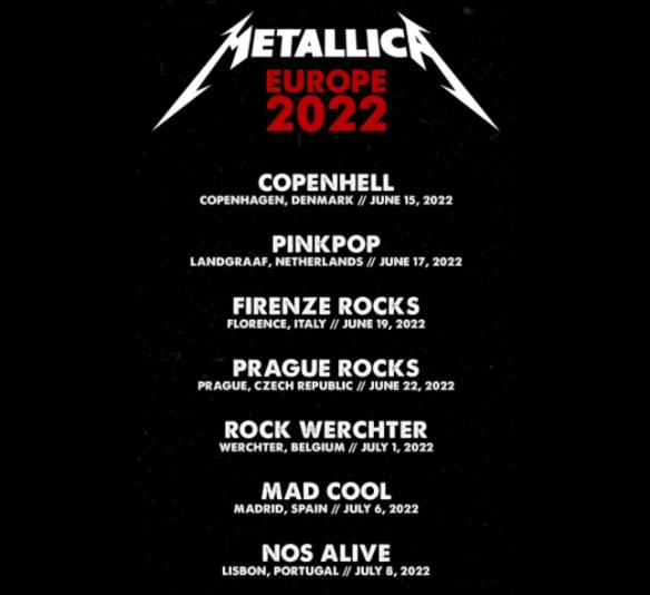 Metallica Announces First Seven European Tour Dates for 2022 | Ghost Cult MagazineGhost Cult Magazine