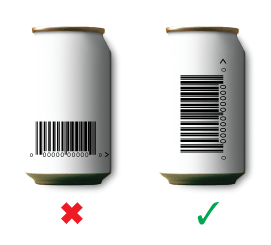 Barcodes on curved surfaces should be positioned so the bars follow the curve.