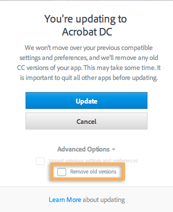 """Be sure to untick """"Remove old versions"""""""