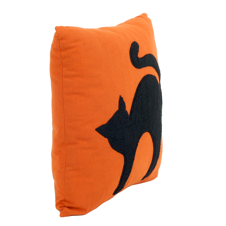 fuzzy black cat vintage halloween design throw pillow 252