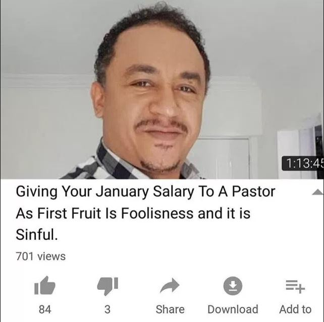 """Giving All Your January Salary To Pastor As First Fruit Is Sinful"""" — Daddy Freeze And Omotola"""