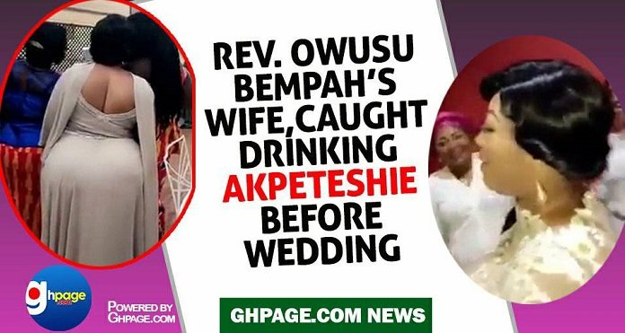 Reverend Owusu Bempah's wife caught drinking Akpeteshie