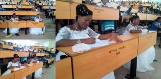 Two students of Benue State University in Nigeria write final exams in their wedding gowns (Photos)
