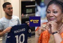 Video+Photos: Chelsea's Eden Hazard Sends Signed Chelsea Jersey To Rebecca Akufo-Addo