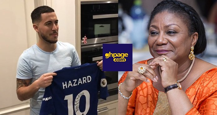 Video+Photos: Chelsea's Eden Hazard Sends Signed Chelsea Jersey To Rebecca Akufo-Addo
