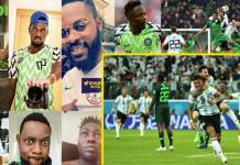 celebrities crying as Argentina beats Nigeria