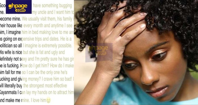I'm so desperate to sleep with my rich uncle – girl opens up