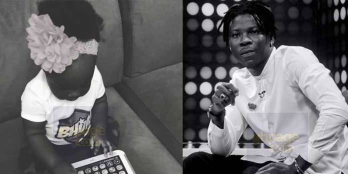 Image result for Stonebwoy shares cute photo of his daughter 'rocking' BhimNation' T-shirt